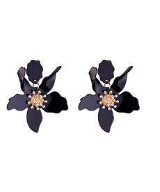 Siyah Akrilik Çiçek Büyük Küpe