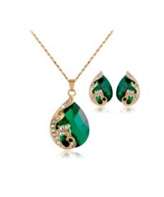 Tavuzkuşu Takı Seti Kristal Yeşil Küpe Kolye Takı Seti