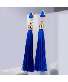 Üçgen Küpe Mavi Püsküllü Uzun Küpe