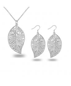 Yaprak Kolye Küpe Gümüş Kaplama Takı Seti