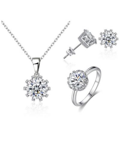 Beyaz Kristal Tek Taş Nişan Düğün Ucuz Takı Setleri