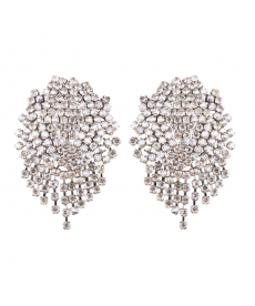 Beyaz Taşlı Geometrik Moda 2019 Abiye Küpe Modelleri