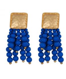 Boncuklu Mavi Küpe Etnik Bohem Büyük Küpe Moda 2019