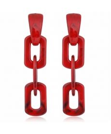Kırmızı Akrilik Zincir Uzun Küpe