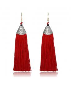 Kırmızı Püsküllü Etnik Küpe Uzun Küpe Modelleri