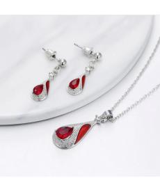 Kırmızı Su Damlası Takı Seti Gümüş Kaplama Küpe Kolye Setleri
