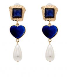 Mavi Kadife Kalp Küpe Abiye Mavi Küpe 2019 Moda Takılar