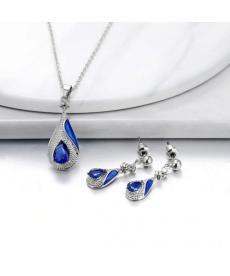 Mavi Kolye Küpe Su Damlası Takı Seti Söz Nişan Düğün Takıları
