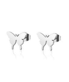 Paslanmaz Çelik Kelebek 1 cm Küçük Küpe Gümüş Renk