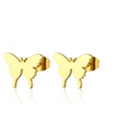Paslanmaz Çelik Kelebek 1cm Küçük Küpe Altın Renk