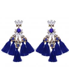 Renkli Taşlar Mavi Püskül Büyük Geometrik Küpe Etnik Stil Küpe Kadınlar İçin