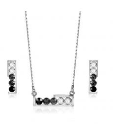 Siyah Beyaz Zirkon Gümüş Renk Kolye Set 2019