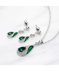 Yeşil Su Damlası Takı Seti Gümüş Kaplama Küpe Kolye Setleri