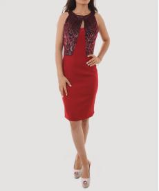Açık Bordo Kadife Detaylı Kısa Kadın Abiye Elbise