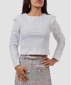 Arkası Fermuar Detaylı Kısa Gömlek Bluz