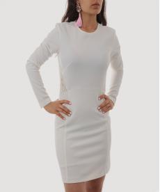 Beyaz Sırtı Dantel Detaylı Kısa Abiye Elbise
