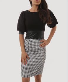 Deri Bel Detaylı Balon Kollu Kazayağı Desenli Ofis Stili Kadın Elbise