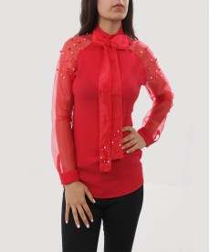 İncili Kırmızı Kadın Gömlek