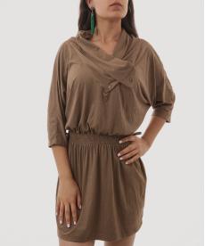 Kahverengi Süet Kısa Tunik Elbise
