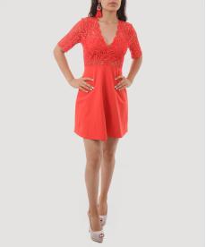 Kırmızı Dantelli Sırt Dekolteli Mini Kadın Abiye Elbise