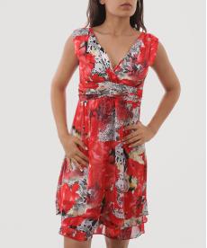 Kırmızı Desenli Şifon Kısa Kadın Abiye Elbise