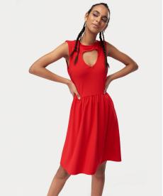 Kırmızı Kalp Pencereli Örme Elbise