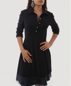 Lacivert Yakalı Kadın Elbise
