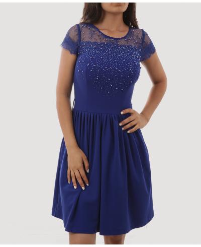 Mavi İnci Detaylı Balon Elbise Kısa Kadın Abiye