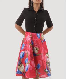 Organze Lale Desenli Kadın Elbise