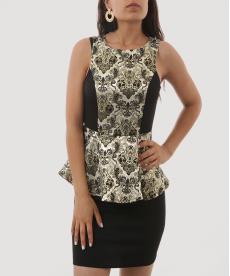 Osmanlı Motifli Gold Siyah Detaylı Kısa Kadın Elbise