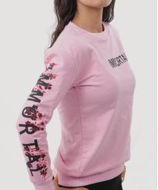 Pembe Baskılı Kollu Sweatshirt