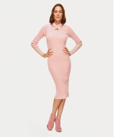 Pembe Çapraz Yaka Detaylı Triko Elbise