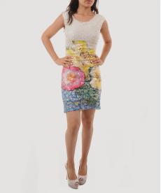 Pullu Payetli Çiçek Desenli Kısa Abiye Kadın Gece Elbisesi