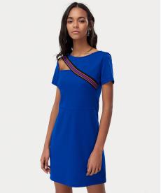 Saks Pencere Detaylı Şeritli Elbise