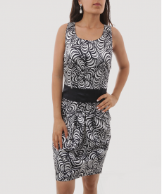 Saten Lacivert Beyaz Asimetrik Desenli Kısa Kadın Elbise