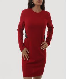 Sırtı DANTEL Dekolte Koyu Kırmızı Kadın Elbise