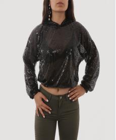Siyah Kapşonlu Payetli Sweatshirt