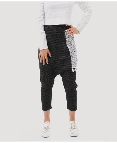 Siyah Kırçıllı Kadın Şalvar Pantolon