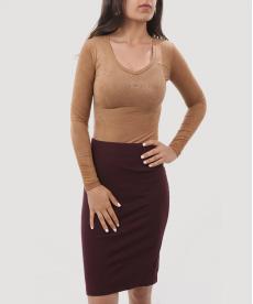 Taba Renk Süet Kadın Bodysuit