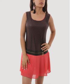 Turuncu Pileli Etekli Lazer Kesim Suni Deri Detaylı Kadın Mini Elbise