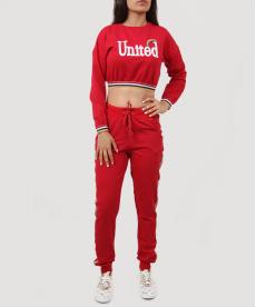 United Kırmızı Gökkuşağı Açık Bel Kadın Eşofman Takım