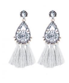 Çiçek Kristal Beyaz Püskül Damla Küpe Moda 2018 Uzun Küpe Modelleri
