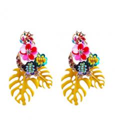 Çiçek Küpe Sarı Yaprakları Bohem Büyük Genç Küpe Modelleri