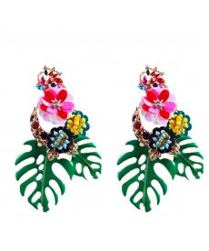 Çiçek Küpe Yeşil Yapraklar Bohem Bayan Küpe Modelleri