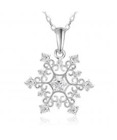 Gümüş Kaplama Kar Tanesi Kolye Beyaz Taşlı Bayan Kolye Çeşitleri