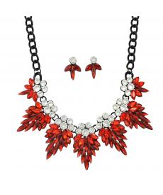Kırmızı Çiçek Yaka Kolye Küpe Siyah Zincir Düğün Nişan Gelin Takı Setleri