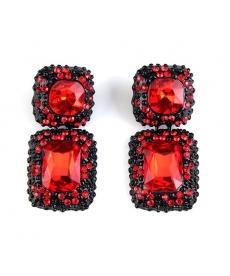 Kırmızı Kare Kristal Küpe Kadın Aksesuar Abiye Takıları
