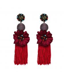 Kırmızı Püsküllü Abiye Çiçek Küpe Büyük Uzun Küpe Takı Modelleri
