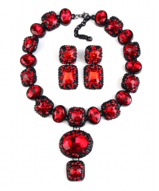 Kırmızı Taşlı Abiye Küpe Kolye Set 2018 Moda Takılar Gerdanlık Set
