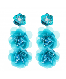 Mavi Boho Büyük Çiçek Küpe Geometrik Uzun Küpe